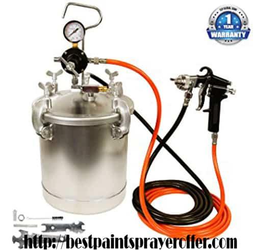 TCP Global Pressure Tank Paint Spray Gun with 1.5mm Nozzle 2.5-Gallons Pressure Pot and Spray Gun with Hoses